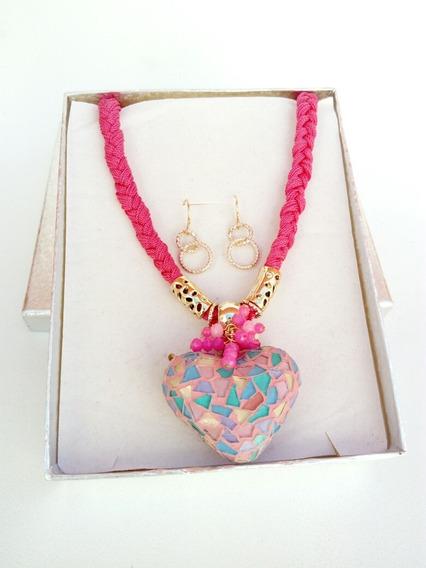 C107 Collar Artesanal Mexicano Rosa Corazón Vitral Cerámica