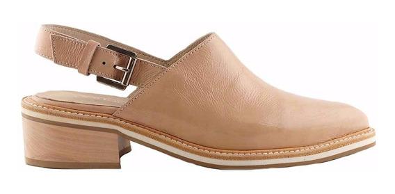 Zueco Zapato Mujer Cuero Briganti Taco Bajo - Mcsu48018 Ch