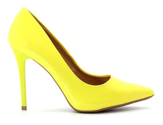 Scarpin Royalz Verniz Salto Alto Fino Amarelo