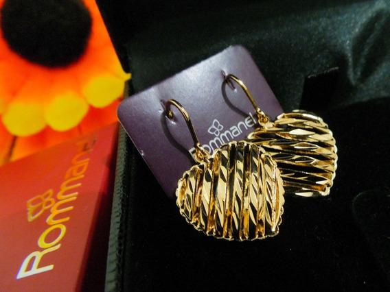 Brinco De Coração Diamantado Vazado Rommanel Folheado A Ouro