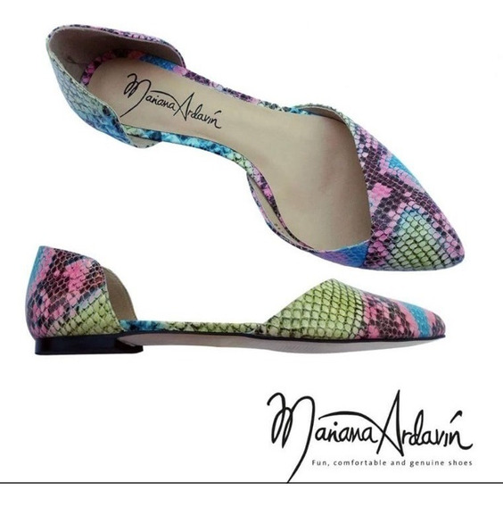 100% Piel, Flats Víbora Multicolor, Zapatos De Piso De Mujer