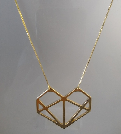 Corrente Com Pingente Folheado Formato Diamante