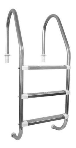 Imagem 1 de 5 de Escada Para Piscina - Aço Inox 304 - 3 Degraus Em Aço Inox