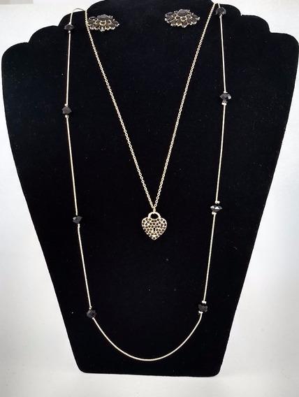 Colar Tiffany Inspired Dourado Pedras +brinco Promoção