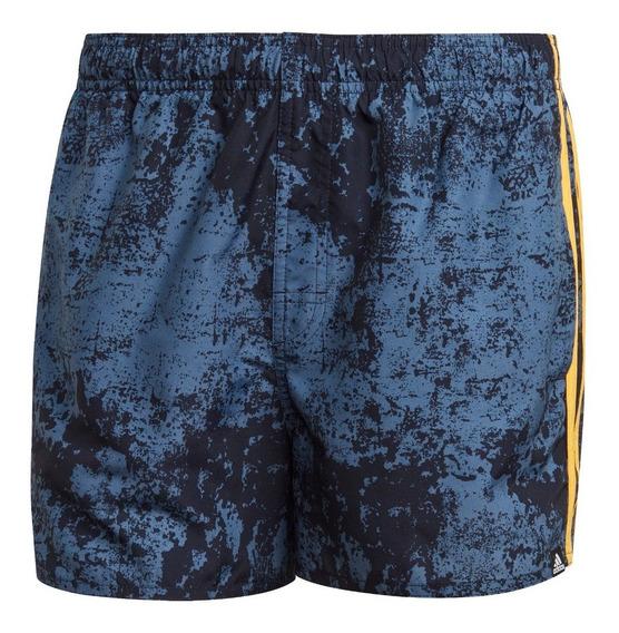 Short De Baño adidas Allover Print 3 Tiras Azu De Hombre