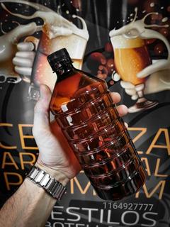 X2 Botella Envase Pet 1000ml Ámbar Cerveza Alto Gramaje