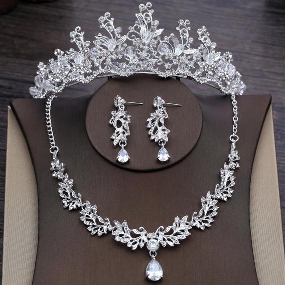 Tiara Collar Aretes Para Novias Perlas Cristales Xv Anos.a