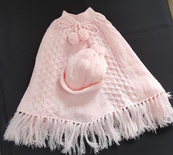 Kit Poncho E Touca Infantil Em Tricot Na Cor Rosa Bebê