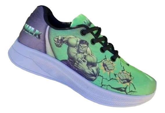 Tênis Incrível Hulk Infantil Tipo Sapatilha Sapato Masculino Menino Criança Promoção Confortável