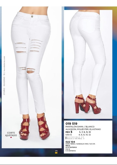 Pantalon/jeans Dama Blanco Roto Terra 019-519 Pv20 Push U
