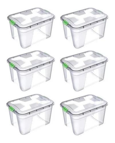 Imagem 1 de 1 de Caixa Organizadora Multiuso Plástica 20 Litros Kit 6 Peças