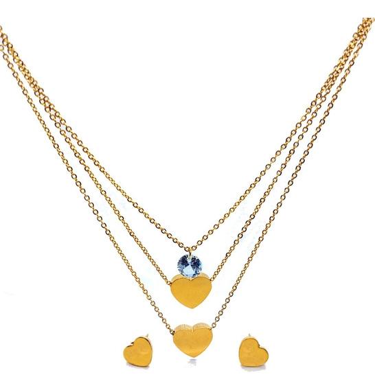 Conjunto Feminino Colar Triplo Com Ponto De Luz E Brincos De Coração - Aço Inox Banhado A Ouro 18k