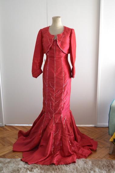 Vestido Razo Color Granate Con Lentejuelas