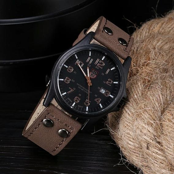 Relógio Masculino Soki Resistente À Água Pulseira D Couro