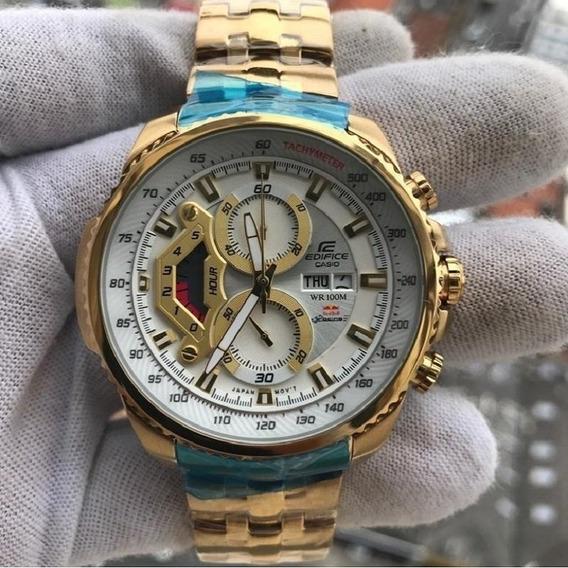 Relógio Hx021b Casio Edifice Ef559d Branco Banhado Ouro 18k