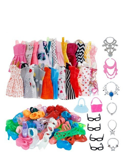 Kit Roupa Boneca Barbie Sapato Acessórios Roupinha 32 Peças