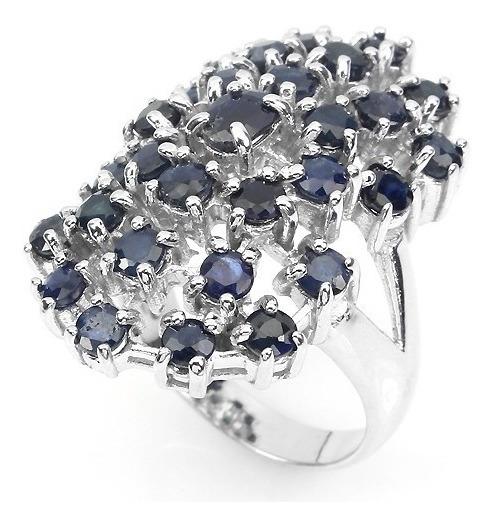Lindo Anel Em Prata Com Safiras Azul Profundo - Naturais