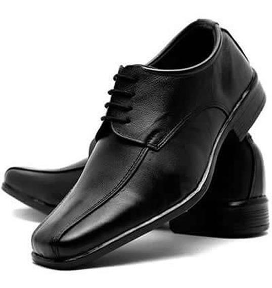 2 Sapato Social Masculino Couro Amarrar Bico Quadrad Barato