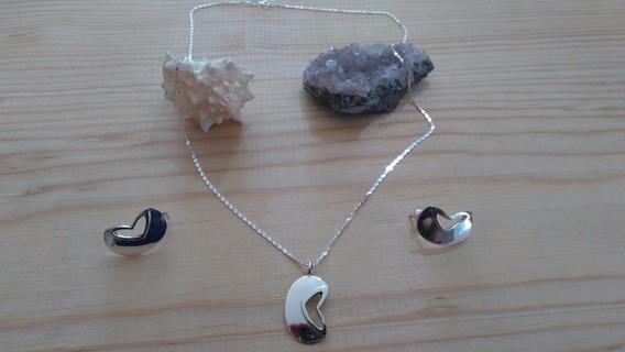 Coordinado Collar De Plata Con Cadena Y Aretes