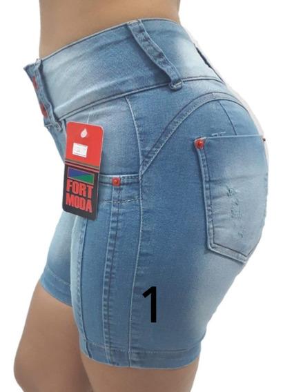 Short Jeans Meia Coxa Feminino Cintura Alta Ciclista Pedal