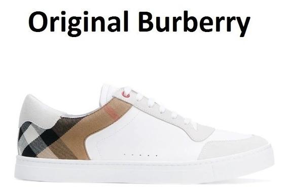 Tênis Burberry Xadrez Original Couro Pele Carneiro Número 43
