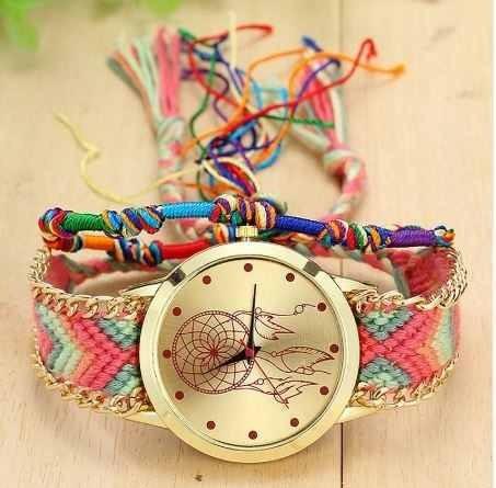 Relógio Feminino De Corda Trançado Colorido Quarzt