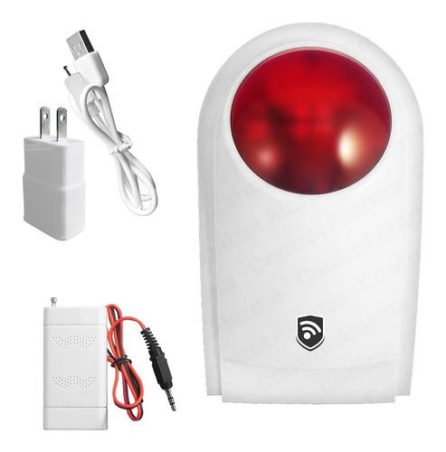 Sirena Externa Flash Inalambrica Alarma Local Alerta Sonora Visual Sensor Vecinal Estrobo Emergencia Casa Negocio