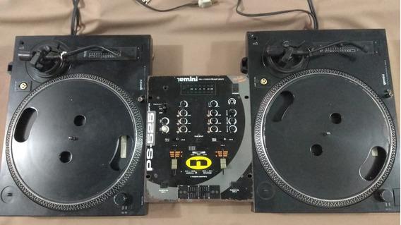 Par Toca Discos Gemini Xl Dd50 Cor Preta Com Mixer Junto!