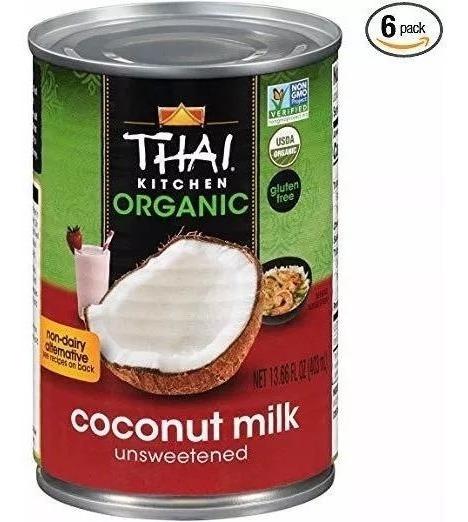 Thai Kitchen Leche Coco Orgánica Sin Azúcar 6 Latas 2.42 Lt