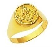Anel Ouro 18k Teor 750 Oval Emblema Maçonaria Maçon Mestre