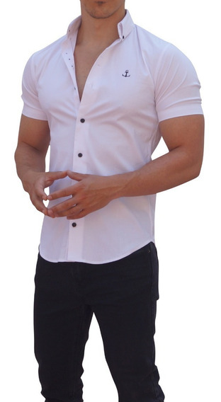 Camisas John Leopard Manga Corta Blanca Slim Fit