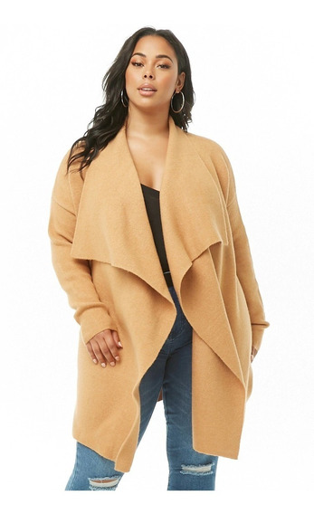 Forever 21 Plus Size Cardigan Sweater Abierto Beige Cafe 3xl