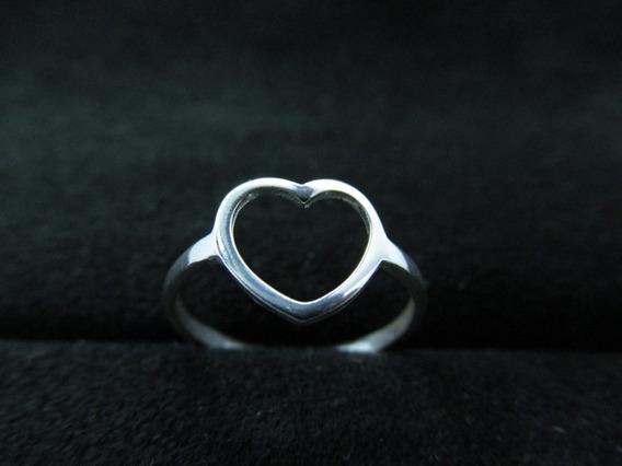 Anel De Prata 925 Feminino Coração Vazado