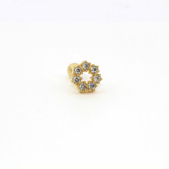 Piercing Cartilag/tragus Em Ouro 18k (750) 7 Pedras Circular