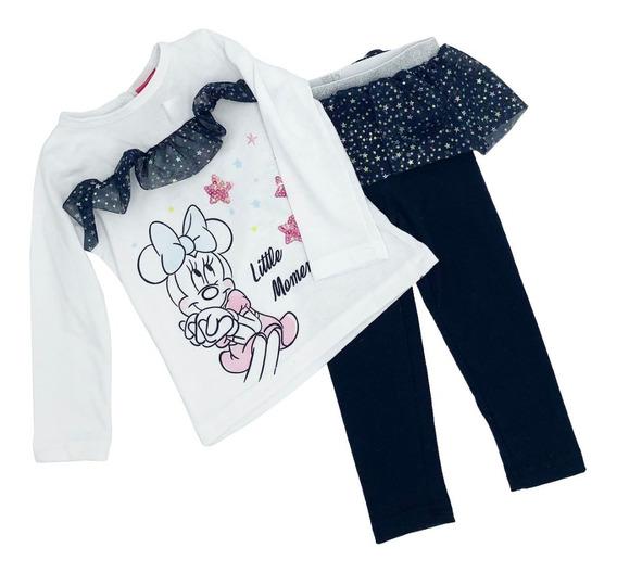 Conjunto Algodón Blusa Estampada Disney Minnie Con Malla