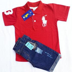 Conjunto Polo Calça Jeans Bermuda Com Regulagem Menino
