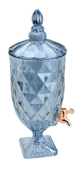 Dispenser Suqueira De Cristal Azul Torneira Cobre Diamond 5l
