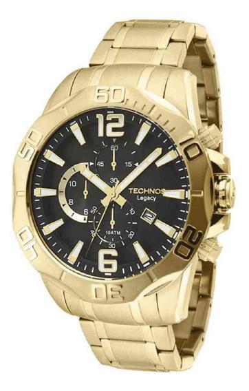 Relógio Technos Masculino Cronógrafo Dourado Os1aap/4p + Nf
