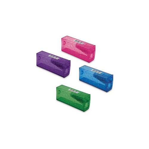 Imagem 1 de 6 de Apontador Com Deposito Glitz Tubo Plastico 5 Cores