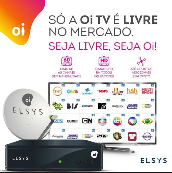 Receptor Oi Tv Livre Hd + Antena 60cm + 20m Cabo + Lnb Duplo
