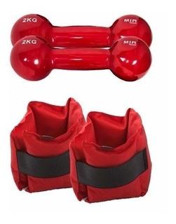Combo Fitness:tobilleras 2 Kg+ 2 Pesas Recubiertas Goma 2 Kg