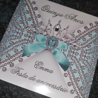 Convite 15 Anos Azul Tiffany - (100uni) Promoção