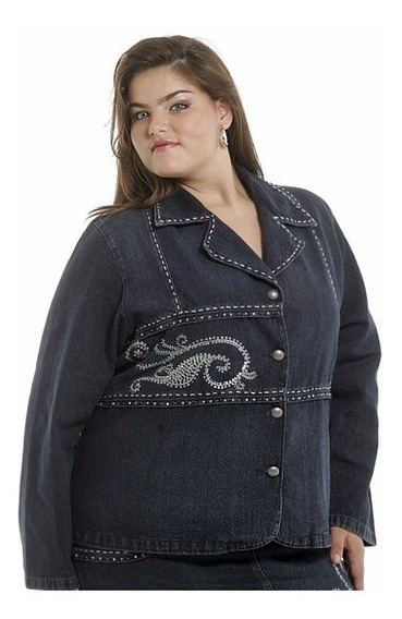 Jaqueta Jeans Plus Size Bordada Feminina Promoção 2316.