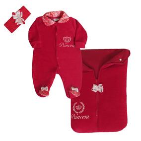 Kit Maternidade Princesa, Cor Vermelha Renda - Asas De Anjo