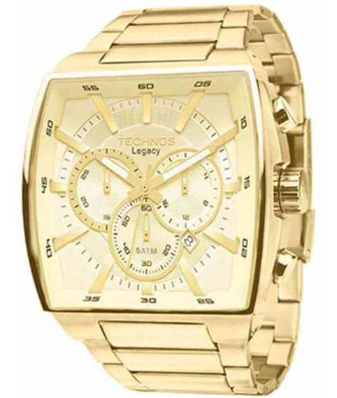 Relógio Technos Masculino Cronógr Dourado Quadrado Js25al/4x