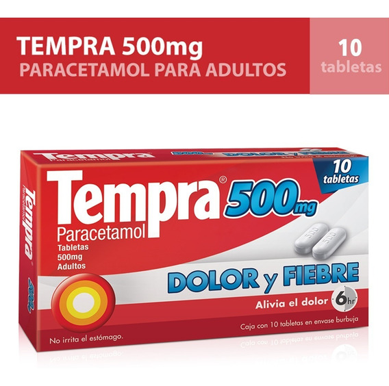 Pastillas Tempra Caja 10 Tabletas 500mg Paracetamol Adulto