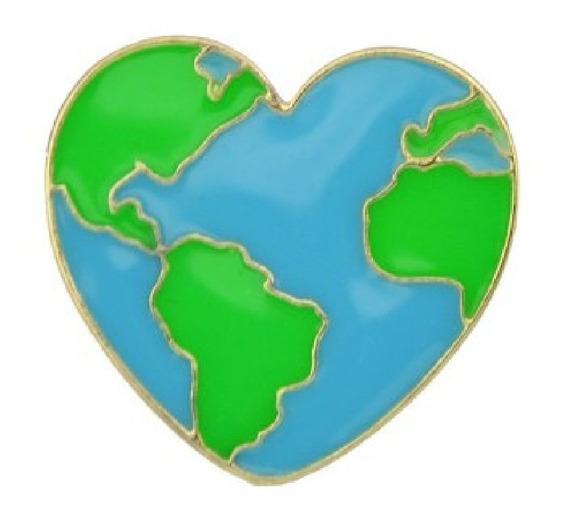 Pin Mapa Corazón - Mapamundi Globo Terraqueo Viajes Planeta