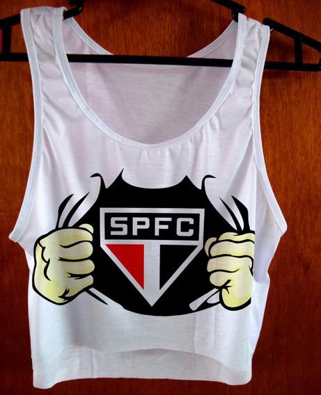 Blusa Cropped São Paulo Feminina Spfc Camiseta Regata Cod01