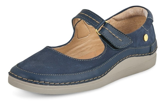 Calzado Zapato Dama Mujer Comodo Piel Genuina Azul