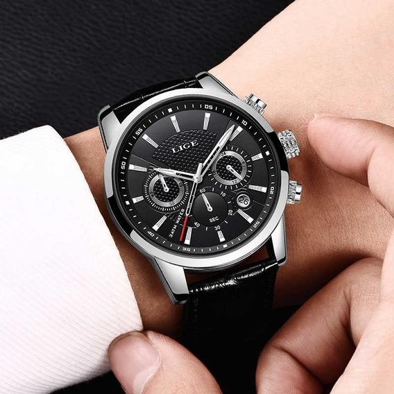 Relógio Pulso Luxo Adulto Masculino Preto Lige Com Caixa
